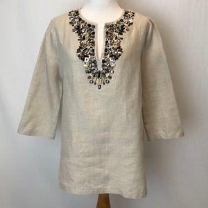 Michael Kors | linen tunic bead embellishments L